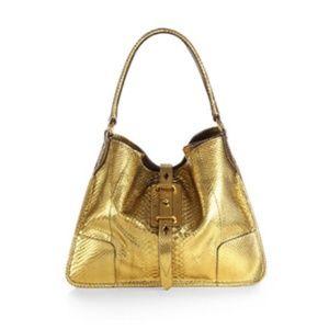 NWT Belstaff Satchel Shoulder Bag Purse Tote Gold